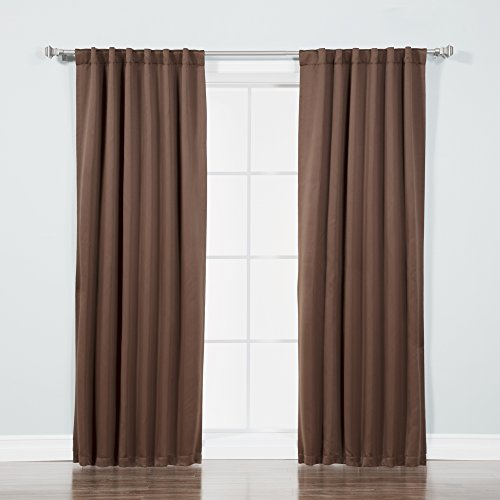 Best Home Fashion Basic Thermal Insulated Blackout Curtains - Back Tab/Rod Pocket - Chocolate- 52' W x 84' L – (Set of 2 Panels)