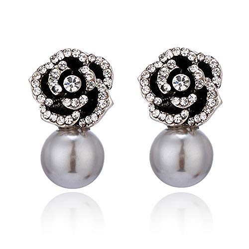 JOYID Elegant Camellia Shell Pearl Stud Earrings Crystal Rose Flower Fashion Earrings for Women