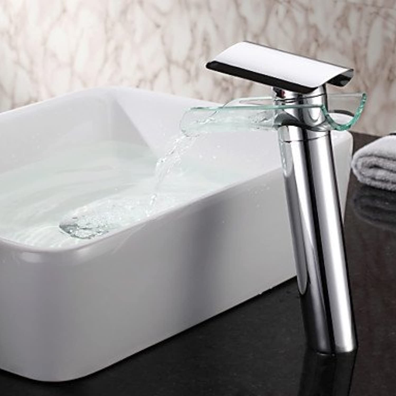 AA Faucet£? Chrome waterfall bathroom sink glass tank taps
