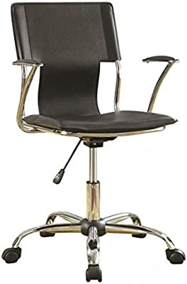 Coaster Contemporary Black Adjustable Height Office Chair, Mid-Back