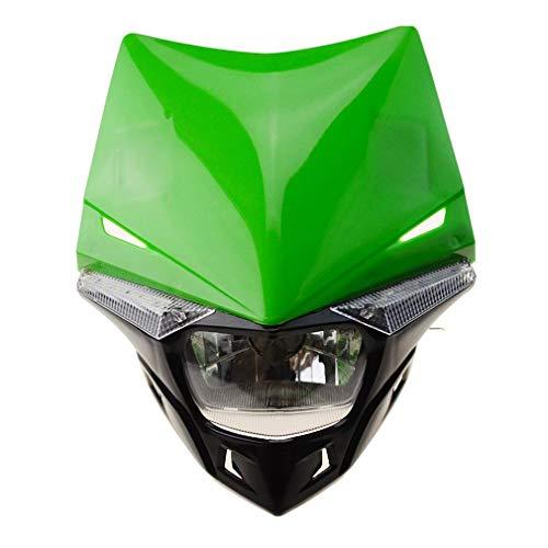 GOOFIT Faro Delantero Moto H4 LED Universal 12V 35W Homologado Supermoto Motocross reemplazo para Bicicleta Cafe Racer ATV Verde