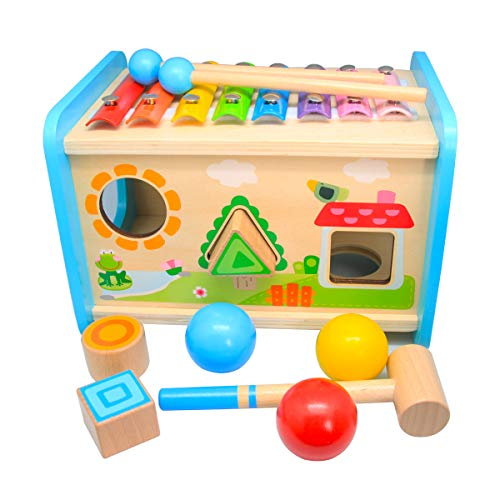 Xylophone Toys for Toddlers 13 Hammering Pounding Wooden Educational Toy Xylophone Shape Sorter Pound and Tap Bench Toddler Toys Gift for Girls Boys Kids