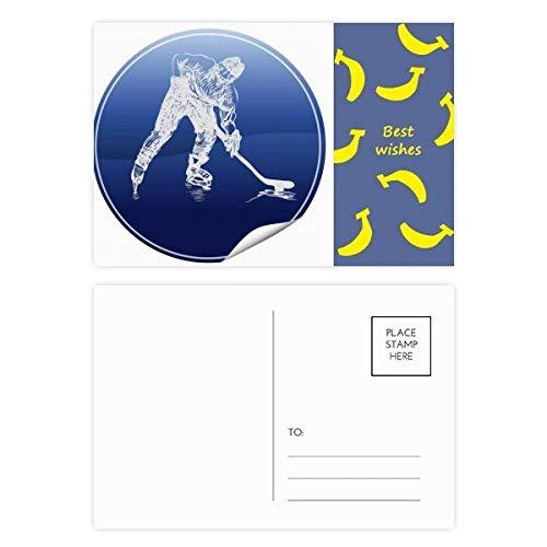 DIYthinker Wintersport Skaten und Eishockey Aquarell Banane Postkartenset dankt Karte Mailing Side 20pcs 5.7 Zoll x 3.8 Zoll Mehrfarbig