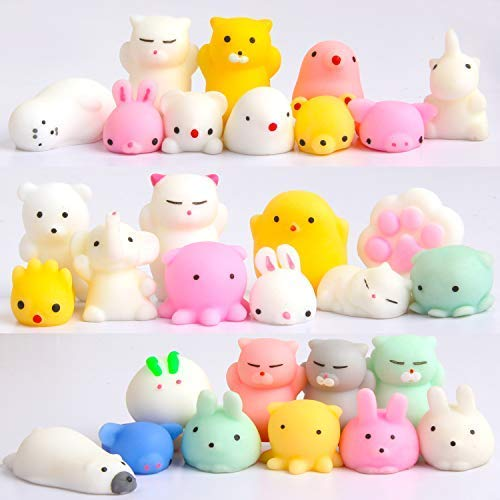 Squishy Toys Party Favors for Kids - Squishys 30 Pack Mini Mochi Squishies, Pinata Easter Egg Fillers Treasure Box Prizes Classroom Unicorn Cat Stress Reliever Pug Stuffed Animal Silicon by Feroxo