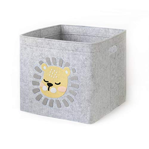Lucky Sign-Care Aufbewahrungskorb Kinderzimmer Spielzeugkorb, 33x33cm - Junge Löwen