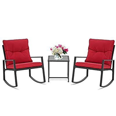 BonusAll 3 Pieces of Outdoor Patio Furniture Rocking Chair Bistro Sets Wicker Black Chair and Coffee Table (Red Cushion)