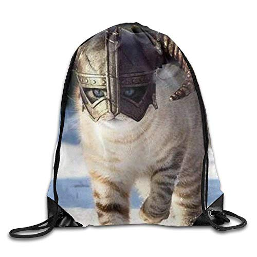 Etryrt Mochilas/Bolsas de Gimnasia, 3D Print New Skyrim Cat Dragonborn Fluffy Animal Majestic Nordic Snow Shoulders Bag Women Fashion Backpack Girls Beam Port Drawstring Travel Shoes Dust s