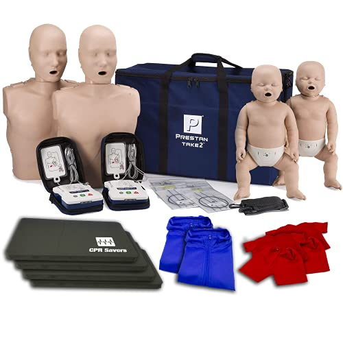 CPR Savers Training Kit with PRESTAN TAKE2 CPR Manikins and AED Trainers (2 Adult, 2 Infant, & 2 AED Trainers), CPR Mat, Manikin Vests, CPR Savers Rescue Mask (Dark)