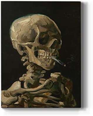 Renditions Gallery Skull of A Skeleton with Burning Cigarette by Vincent Van Gogh Printed Famous product image