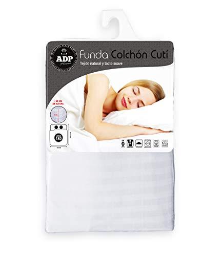 ADP Home - Funda de colchón Cutí con Cremallera L, 180x200+30 cm (para Cama de 180 cm), Blanco