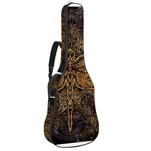 Gitarren-Gigbag, wasserdicht, Reißverschluss, weicher Gitarren-Rucksack, Bass, Akustik- und klassische Folk-E-Gitarrentasche, stilisierte Libelle gegen das Mandala