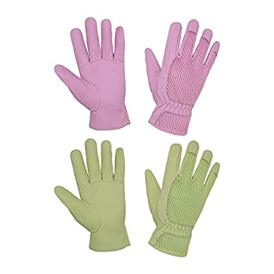 2 Pairs Garden Gloves Women, Pigskin Leather Scratch Resistance Gardening Gloves for Women, Ladies 3D Mesh Comfort Fit Breathable Rose Pruning Gloves (M, Green+Pink)