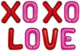 16 Inch XOXO LOVE Alphabet Letters Pink Red Foil Balloons Set for Valentines Day,Propose Marriage,Wedding Party,Wedding Décor,Mother's Day, Father's Day,Anniversary Backdrop & Birthday Party Supplies for her,mom,girlfriend (XOXOLOVE)