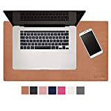 Modeska 24' x 14' Leather Desk Pad - SKIDSTOP Ultra Smooth Executive Blotter and Protective Mat Large Mouse Pad for Office, School, Home, Remote Business – Brown