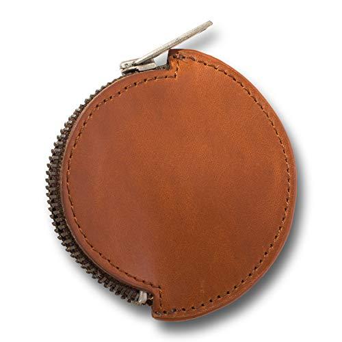 Unisex Leder Münzbeutel Echtleder Münzgeldbörse rund Mini Münzbörse für Kleingeld Coin Keeper Purse Kleingeldbeutel für Männer und Frauen (Whisky, One Size)