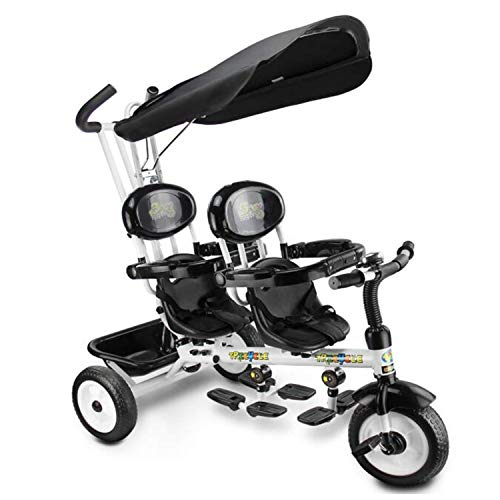 BABIFIS Kinderen 4 In 1 Trike Kinderen driewieler Dubbele Stoelen Voor Tweelingen, Baby Baby Baby 3 Wielen Kinderwagen Fiets W/Luifel & Mand