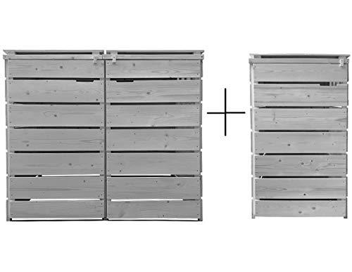 Lukadria Mülltonnenbox für 3 Tonnen Mülltonnenverkleidung Mülltonnecontainer Holz 120L - 240L vorimprägniert in hell-grau mit Rückwand Alster