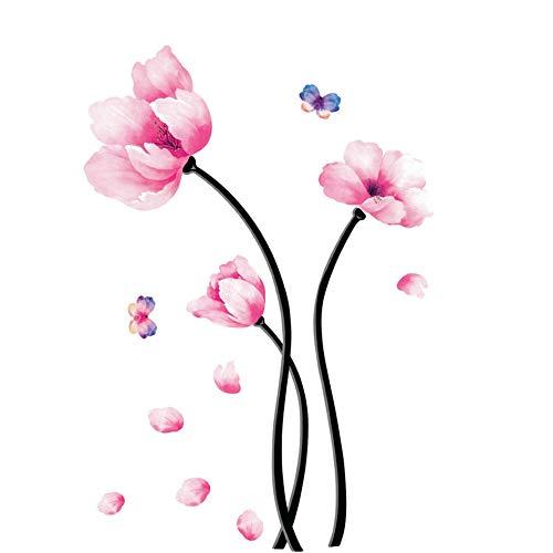Pegatinas de pared de flores de sueño rosa extraíbles de bricolaje, fáciles de usar, hermosas calcomanías encantadoras, utilizadas para fondo de TV de sofá, salas de estar, oficinas de dormitorios