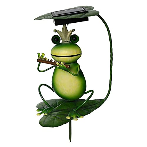 lefeindgdi Solar Garden Frog Ornament, Iron Musician Frog Figures, Powered LED Lights, Decorative Outdoor Home Accessories for Patio Pond Walkways Lawn