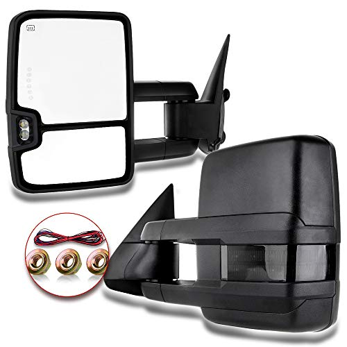 Yindina Tow Mirrors Replacement Compatible for 1999-2002 Chevy Silverado GMC Sierra 1500/2500 Towing Mirrors Pickup 1 Pair Power Adjusted Heated LED Turn Signal Clearance Light Black Housing