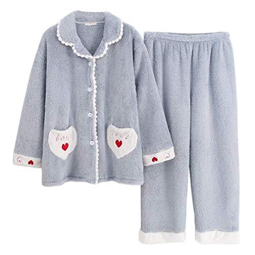 LLSS Pijamas Mujer Invierno Bordado Franela Pijamas Mujer Cardigan Tallas Grandes Coral Fleece Engrosado Ropa para el hogar