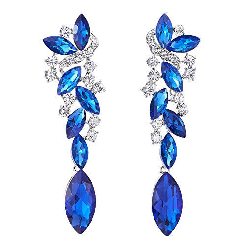 Azul Arte Deco Boda Fiesta Rhinestones Marquise Cluster Chandelier Araña de Luces Statement Declaración Pendientes