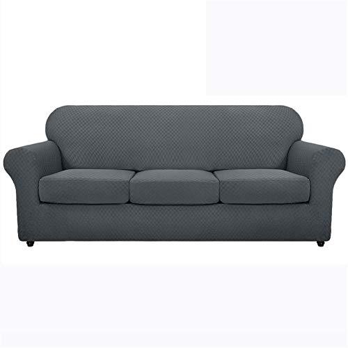 Lovesey, copridivano elasticizzato in jacquard, con federe per cuscini separate, antiscivolo, con fondo elastico (grigio scuro, grande 3 posti)