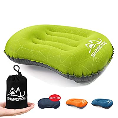 Ultralight Inflatable Camping Pillow - Compressible Travel Backpacking Air Pillow - Fast Inflatable by Pressing - Ergonomic Neck and Lumbar Support - Perfect for Hiking,Travel,Beach,Hammock,Sleeping