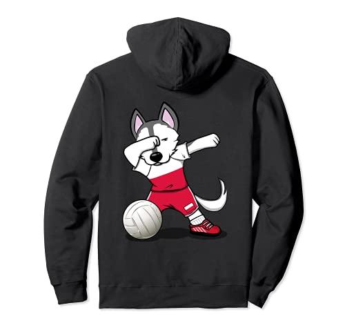 かわいい踊るハスキー犬 ポーランド バレーボールファン - ポーランドの旗 Dog Poland Volleyball パーカー