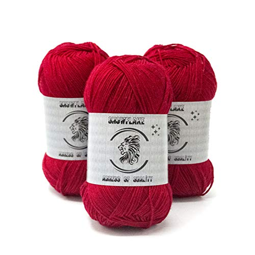 Organic,Soft,Sport Knitting Bamboo Cotton Yarn (3 Piecess)-%70 Natural Bamboo %30 Cotton Crochet and Yarn for in Different Color for Babies(50 Grams of Weight) (RED)