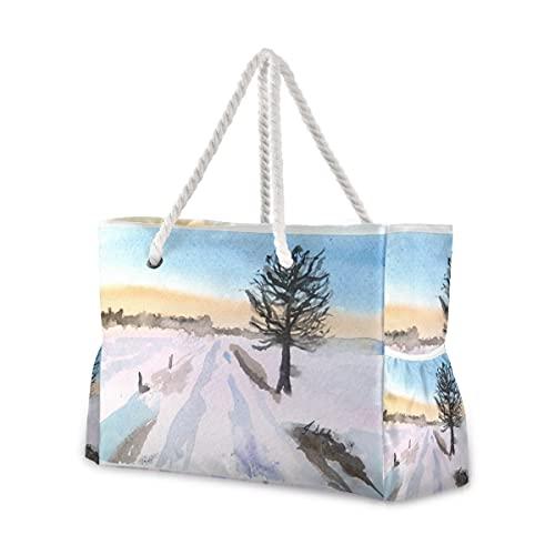 Bolsas de playa grandes Totes de lona bolsa de hombro paisaje-tarjeta de acuarela-2 bolsas resistentes al agua para gimnasio viajes diarios