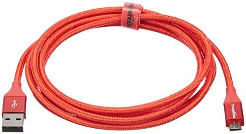 Amazon Basics - USB-2.0-A auf Micro-B-Kabel mit doppelt geflochtenem Nylon | 1,8 m, Rot