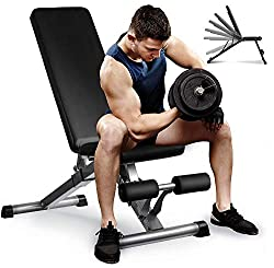 Ergonomic Weight Bench: Aebow Adjustable workout weights bench set was designed to fit your full-body muscle workouts, like bench press, shoulder press, single-arm row, biceps curls, sit-ups, decline press, leg muscle training, barbell and dumbbell t...