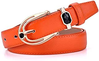 Supporter Equipment Women Waist Belt Women's Leather Belt Casual Wild Men and Women Models with Simple Belt Suitable for All Seasons and Places (Color : Orange) (Color : Orange)