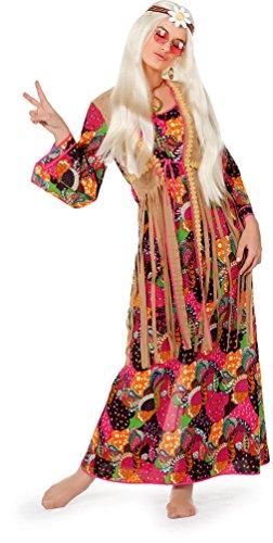 Carnaval-kleding, hippie jurk, kostuum, dames, bloemen-power-kostuum, damesjurk, lang, bont met aangenaaide vest, dameskostuum 52 EU