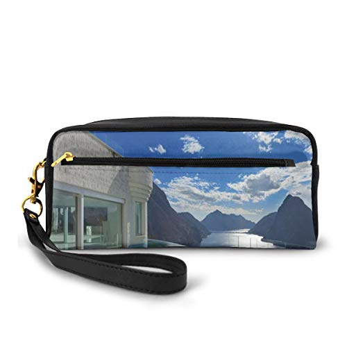 Pencil Case Pen Bag Pouch Stationary,Modern Summer Penthouse With Infinite Pool Ocean Sea Scenery Image,Small Makeup Bag Coin Purse