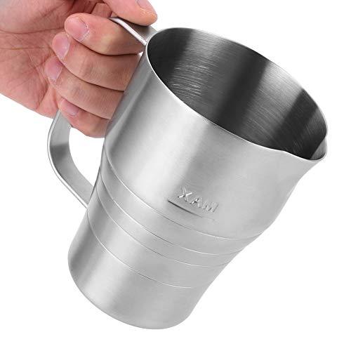 Jarra de leche de plata 900 ml con salida en forma de V para leche espumando taza de acero inoxidable para café para latte