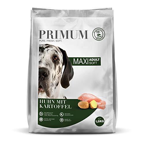 Primum | Soft Huhn Maxi mit Kartoffel | 1,5 kg | Halbfeuchtes Hundefutter | Getreidefreies Trockenfutter | Hoher Fleischanteil | Optimal verdaulich | Hypoallergen