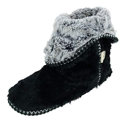 Dearfoams Women's faux fur Foldown Boot Slipper, Black, L Regular US