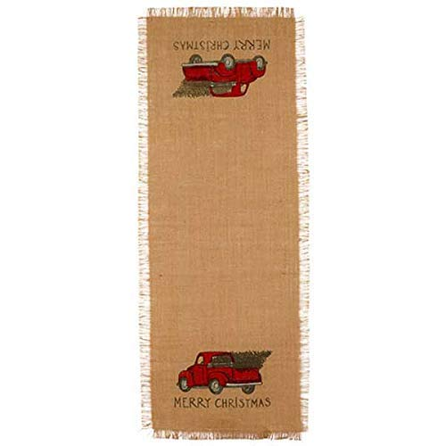 The Country House Red Truck Christmas Burlap Runner (13