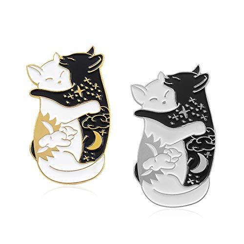KAERMA Abraza gatos broches insignias esmalte negro blanco alfileres mochila sombrero chaquetas de cuero accesorios de joyería de moda regalos accesorios decorativos (tamaño: 2)