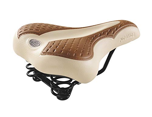 Selle de vélo Vintage Montegrappa Original Produit Artisanal Italien Fait à la Main en Cuir synthétique avec Deux Ressorts modèle Kosmos 2008V (Couleur: crème/Marron Clair)