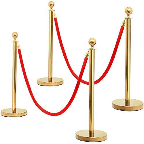 Yaheetech Personenleitsystem 4 Absperrpfosten mit 2 Kordeln, sicherer Stand Absperrung Durchgangssperre 2m Gurtband 4 Edelstahl-Stative und 2 rote Seile rot/Gold