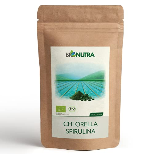 BIONUTRA® Chlorella & Spiruline bio | en comprimés | 250 g | Agriculture biologique | Sans additifs | 1000 x 250 mg | Emballage opaque et refermable