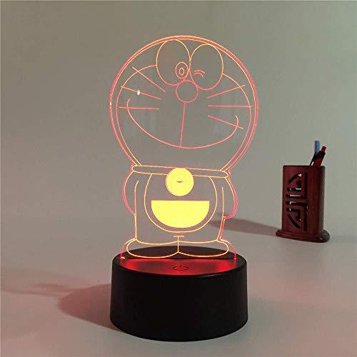 Lámpara de ilusión LED 3D de dibujos animados lindo Luz de noche Mesita de noche óptica Luces de noche 16 Cambio de color Botón táctil Decoración Lámparas de escritorio,