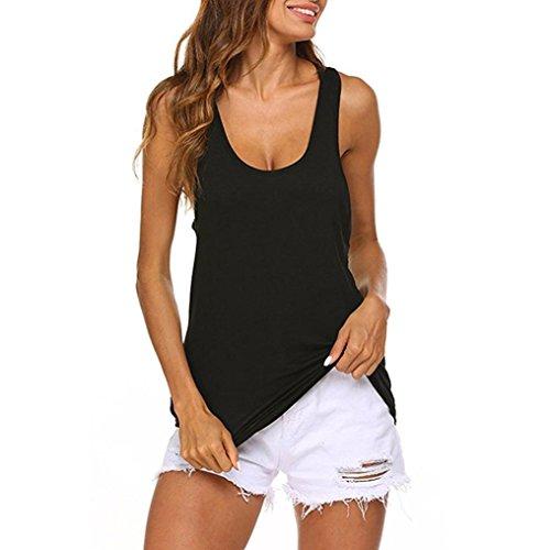 Toamen Tops Femmes Débardeur dos nu à taille basse et haut Chemisier sans manches de yoga T-shirt dos nu Creux (L, Noir)