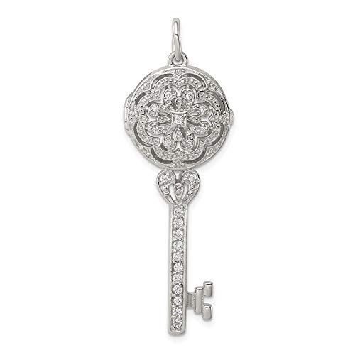 925 Sterling Silver Cubic Zirconia Cz Filigree Locket Key Pendant Charm Necklace Shaped Fine Jewelry For Women Gifts For Her