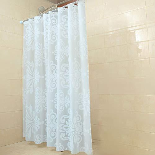 GreeSuit Tejido Cortina de Ducha Liner Baño Decorativo Poliéster Impermeable con 12 Ganchos Resistente al Moho Máquina Lavable 180cm x 180cm (Blanco)