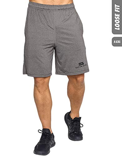 Satire Gym Loose Fit Shorts Herren - Kurze Sport Hose - Bekleidung geeignet für Fitness, Workout & Training, grau, L