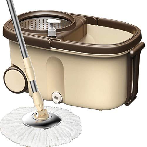 Magic Spin Mop, 360 Grad Rota Tisch Multifunktionales 360 Spin und Bucket Set mit 5 Stück zusätzlichen Moppköpfen